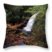 High Angle View Of A Waterfall, Glenoe Throw Pillow