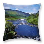 High Angle View Of A Waterfall Throw Pillow