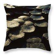 High Angle View Of Basalt Rocks, Giants Throw Pillow