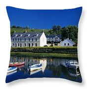 High Angle View Of Boats Moored At A Throw Pillow