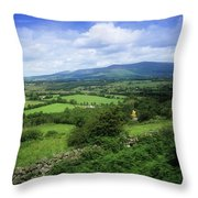 High Angle View Of Fields On A Throw Pillow