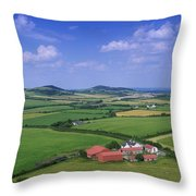 High Angle View Of Fields, Stradbally Throw Pillow