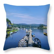 High Angle View Of Rowboats In The Throw Pillow