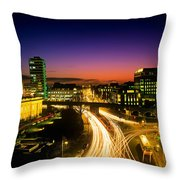 High Angle View Of Traffic Moving In A Throw Pillow