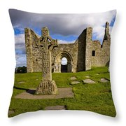 High Cross At Clonmacnoise, County Throw Pillow