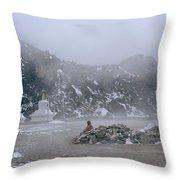 High In The Himalayas Throw Pillow