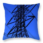 High Voltage Power Line Silhouette Throw Pillow