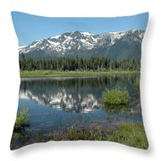 High Water Mt Tallac Reflections Throw Pillow