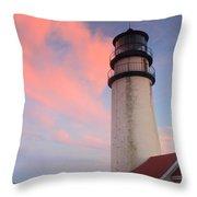 Highland Lighthouse Sunset Cape Cod Throw Pillow