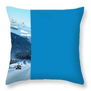 Highway In Winter Through Mountains Throw Pillow