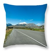 Highway Towards Panoramic Mountain Throw Pillow