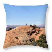 Hiker At Edge Of Upheaval Dome - Canyonlands Throw Pillow