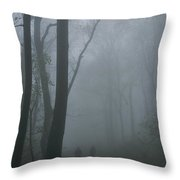 Hikers Enjoy A Foggy Outing On A Trail Throw Pillow