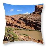 Hiking The Moab Rim Throw Pillow