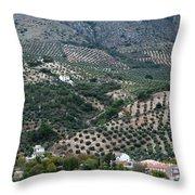 Hills Dales And Vineyards Throw Pillow by Lorraine Devon Wilke