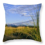 Hills Loom In The Distance Throw Pillow