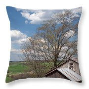 Hillside Weathered Barn Dramatic Spring Sky Throw Pillow