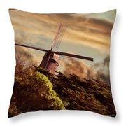 Hillside Windmill Throw Pillow