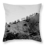 Hilltop In A Row - Black And White Throw Pillow