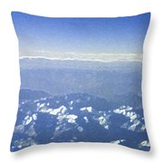 Himalayas Blue Throw Pillow