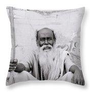 Hindu Holyman In Benares Throw Pillow