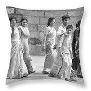 Hindu Pilgrims In Madurai Throw Pillow