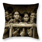 Hindu Pilgrims On New Year's Day Throw Pillow