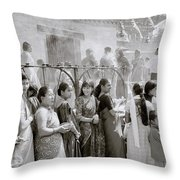 Hindu Pilgrims Throw Pillow