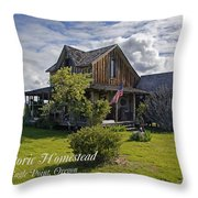 Historic 1870 Marvin Wood House With Text Throw Pillow