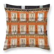 Historic Facade At Plaza Mayor In Madrid Throw Pillow