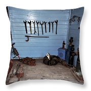 Historic Locomotive Carriage - Tools Throw Pillow