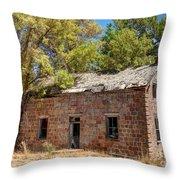 Historic Ruined Brick Building In Rural Farming Community - Utah Throw Pillow
