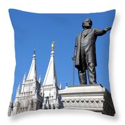 Historic Salt Lake Mormon Lds Temple And Brigham Young Throw Pillow