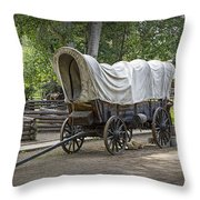 Historical Frontier Covered Wagon Throw Pillow
