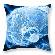 Hiv-1 Infected T4 Lymphocyte Sem Throw Pillow by Science Source