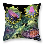 Hiv Three Sectioned Virions On Black Throw Pillow