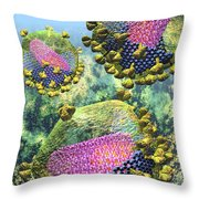 Hiv Three Sectioned Virions On Blue Throw Pillow