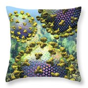 Hiv Three Virions On Blue Throw Pillow