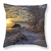 Hoar Frost Covered Trees At Sunrise Throw Pillow