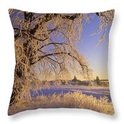 Hoar Frost On Tree, Milton, Prince Throw Pillow
