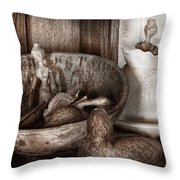 Hobby - Wood Carving - Wooden Toys Throw Pillow by Mike Savad