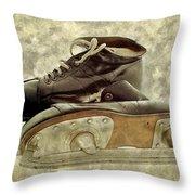 Hockey Boots Throw Pillow by Dariusz Gudowicz