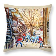 Hockey Game Near Winding Staircases Throw Pillow