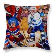 Hockey Game Scoring The Goal Throw Pillow by Carole Spandau