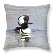 Hodded Merganser Throw Pillow