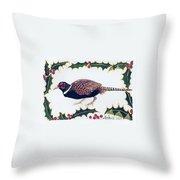 Holiday Pheasant Card Throw Pillow