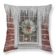 Holiday Wreath In Window With Icicles During Blizzard Of 2005 On Throw Pillow