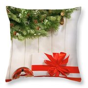Holiday Wreath With Snow Globe  Throw Pillow by Sandra Cunningham