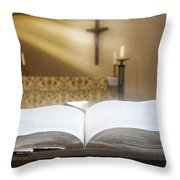 Holy Bible In A Church Throw Pillow
