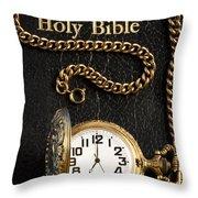 Holy Bible Pocket Watch 1 Throw Pillow